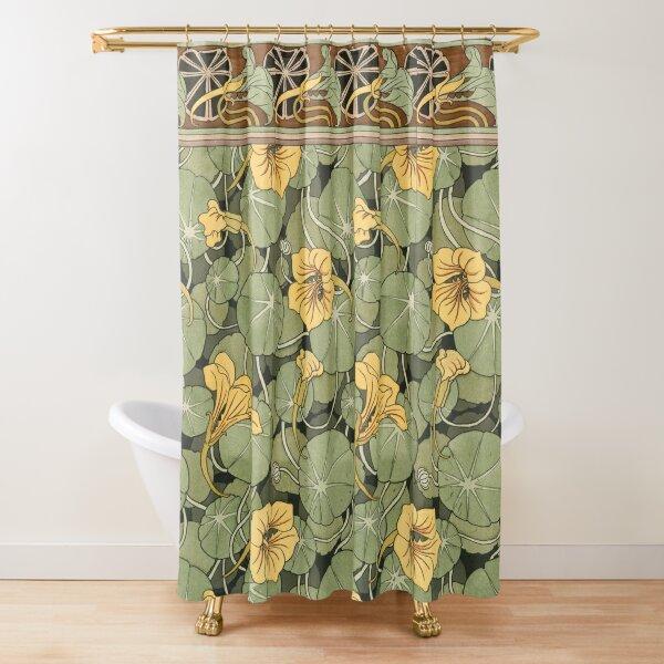 YELLOW NASTURTIUM FLOWERS,GREEN LEAVES Art Nouveau Floral Shower Curtain