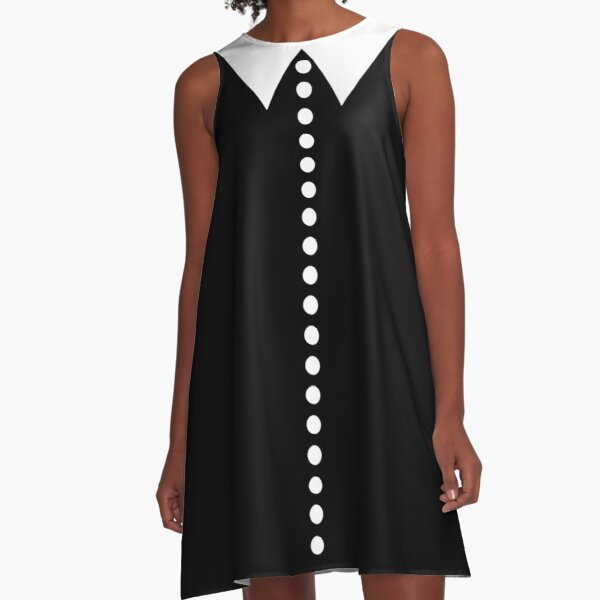 Faux Collar and Buttons in Black and White  A-Line Dress