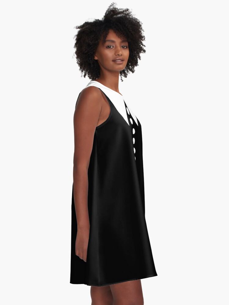 Alternate view of Faux Collar and Buttons in Black and White  A-Line Dress