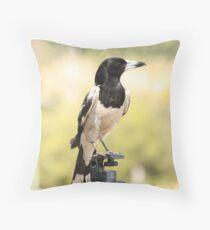 bird on tri pod Throw Pillow