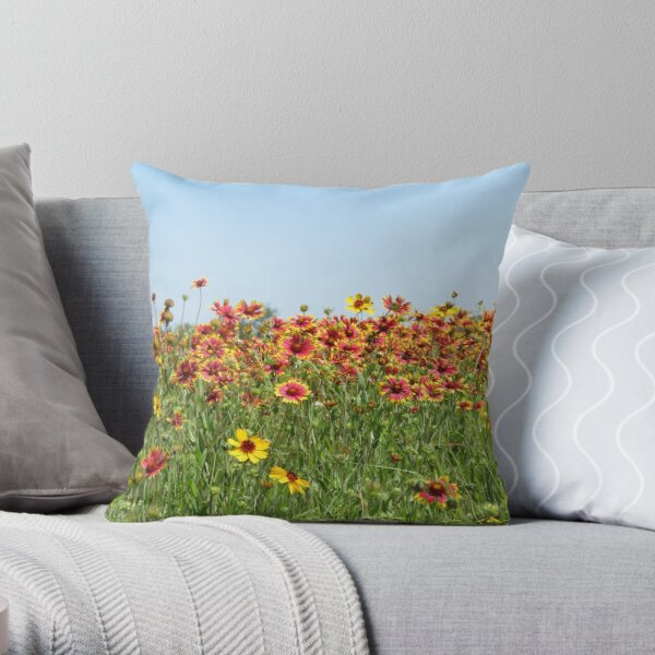 Indian Blanket Wildflowers in a Texas field. Throw Pillow