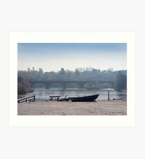 tweed boat and Kelso Bridge, Mist and Snow Art Print
