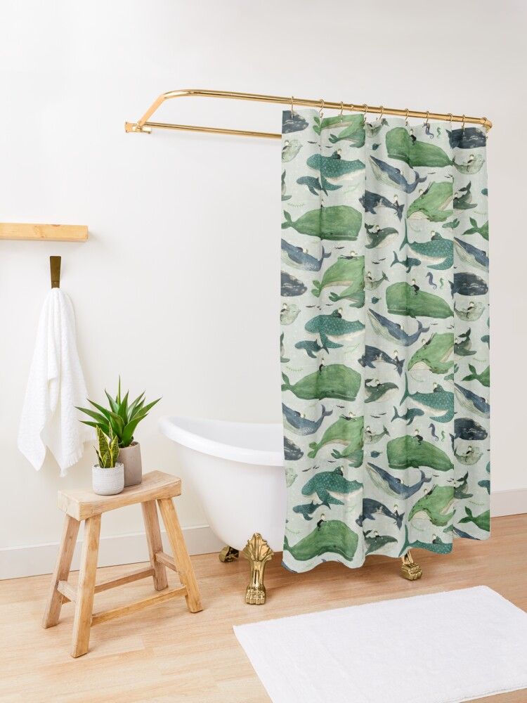 Alternate view of Whale rider {green and purple} Shower Curtain