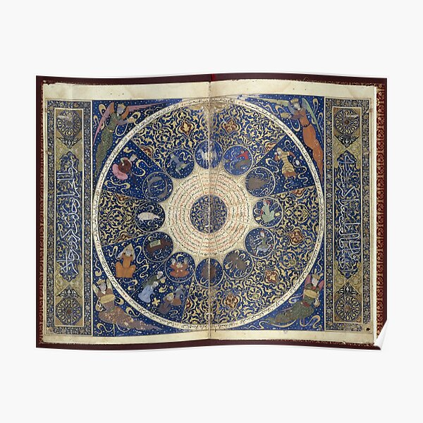 Medieval Illuminated Astrology Horoscope Poster