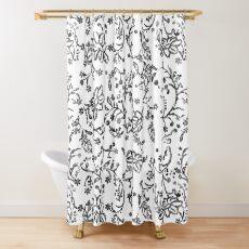 Vintage distress black an white floral design Shower Curtain