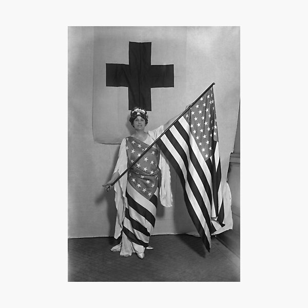 WWI Home Decor 1918 Gift Wall Art Black and White Arthur Mole Living Photo Armed Forces Service Flag Vintage Photo Print