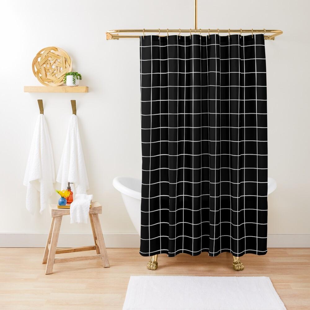 Black Grid Shower Curtain