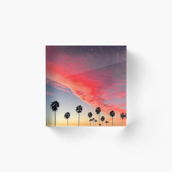 Red Scarlet Sunset Over Palm Trees Art Photo Acrylic Block