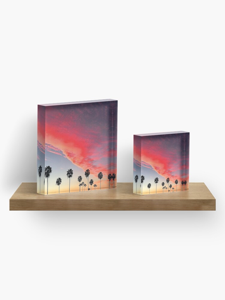 Alternate view of Red Scarlet Sunset Over Palm Trees Art Photo Acrylic Block