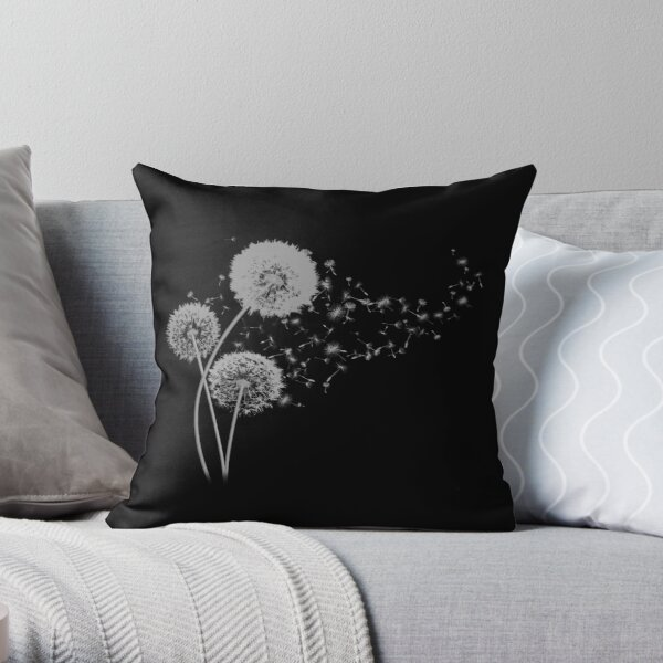 Dandelion Wishes on Black Throw Pillow