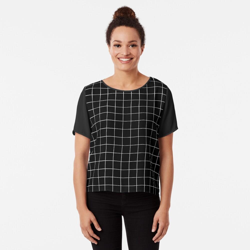 Black Grid Chiffon Top