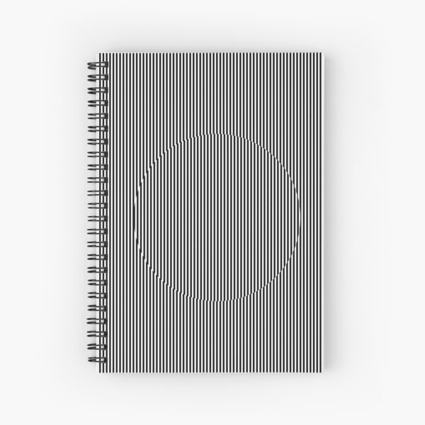 Optical art: flat parallel stripes create a moving circle Spiral Notebook