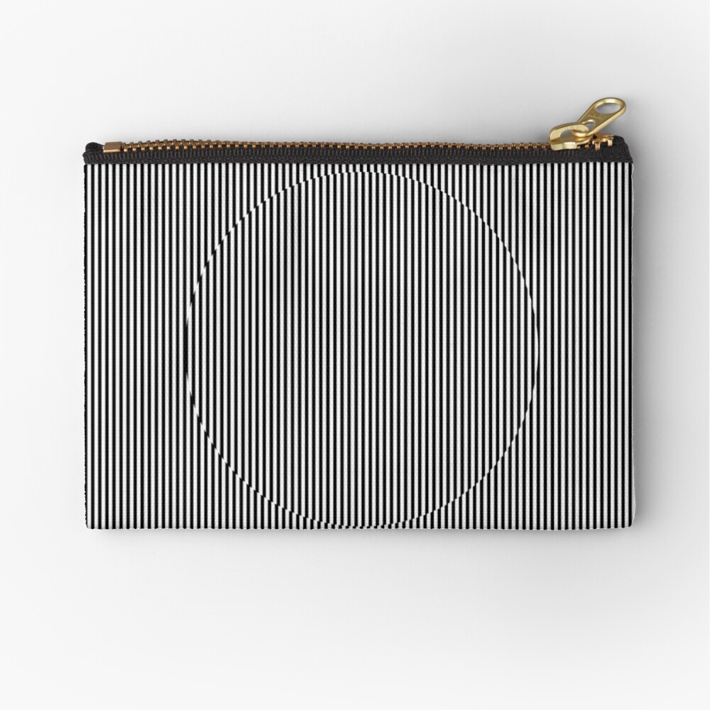 Optical art: flat parallel stripes create a moving circle Zipper Pouch