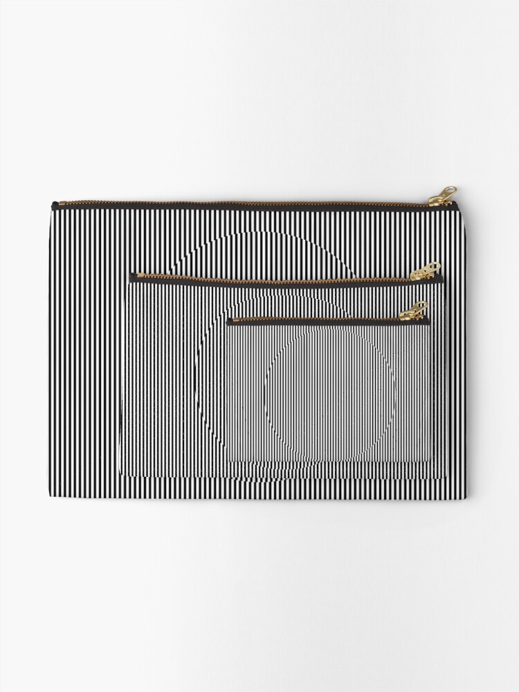 Alternate view of Optical art: flat parallel stripes create a moving circle Zipper Pouch