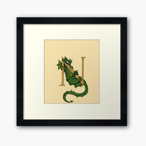 Dragon Letter N (sans Roses) Framed Art Print