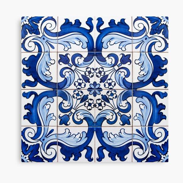 Antique Azulejo Tile Floral Pattern Canvas Print