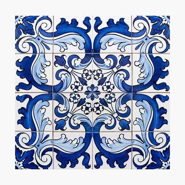 Antique Classic Lisbon Blue Azulejo Tile Floral Pattern Photographic Print