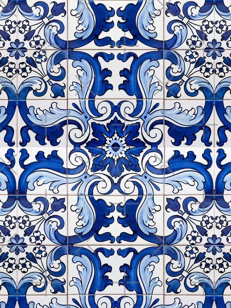 Antique Azulejo Tile Floral Pattern by ernstc