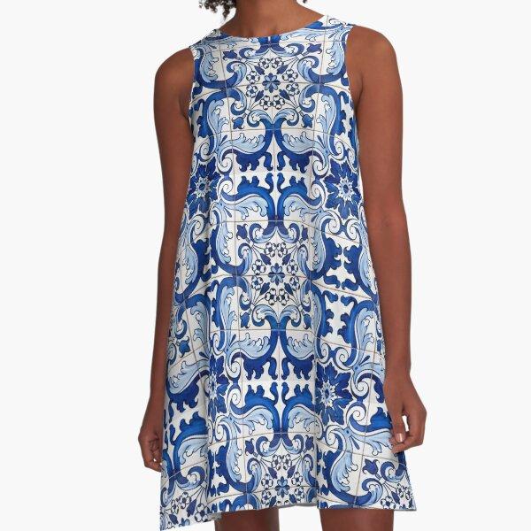 Antique Azulejo Tile Floral Pattern A-Line Dress