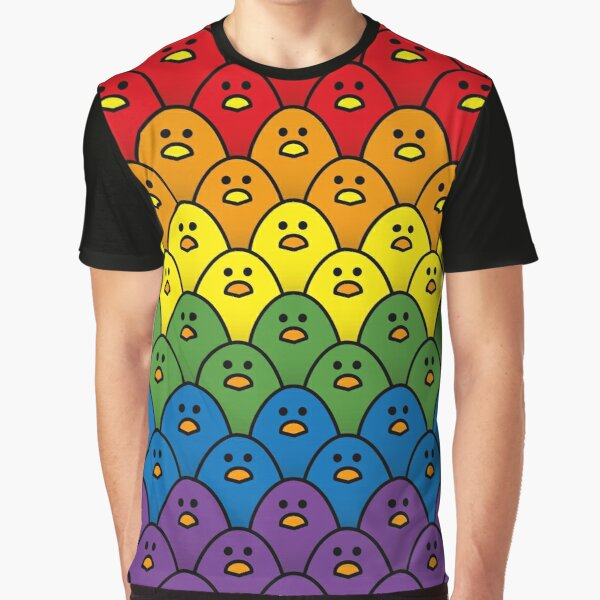 Bold Rainbow Coloured Chicks in Horizontal Double Rows Graphic T-Shirt