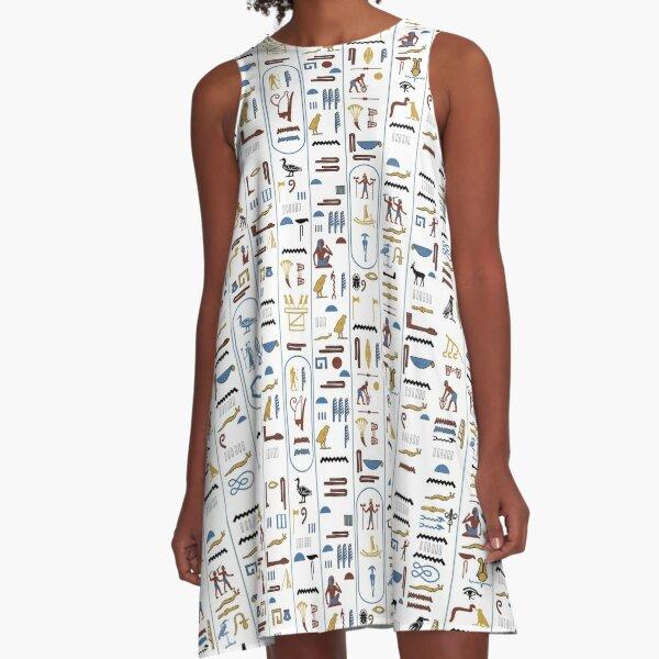 Pharaoh Hieroglyphs A-Line Dress