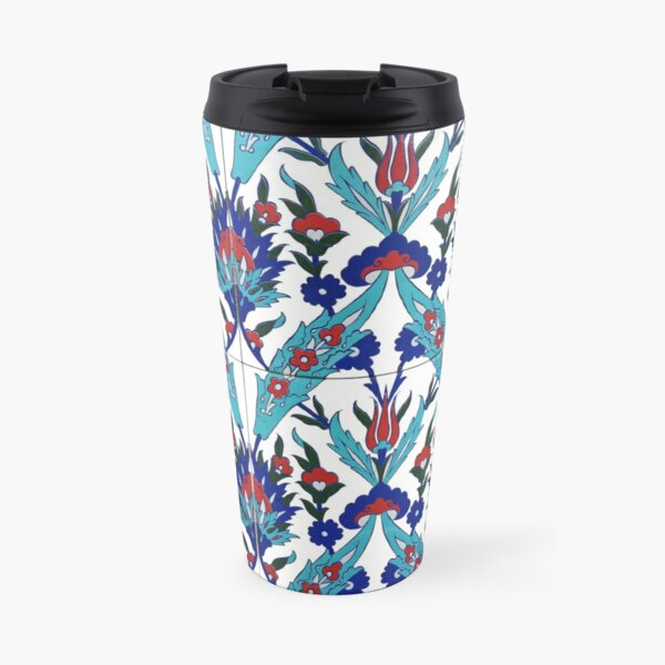 Turkish Iznik Floral Pattern Travel Mug