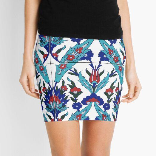 Turkish Iznik Floral Pattern Mini Skirt