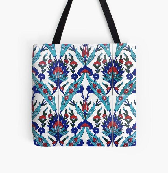 Turkish Iznik Floral Pattern All Over Print Tote Bag