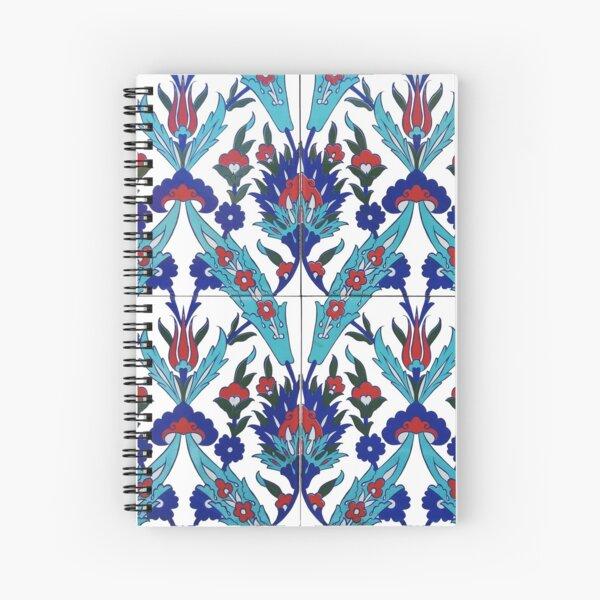 Turkish Iznik Floral Pattern Spiral Notebook