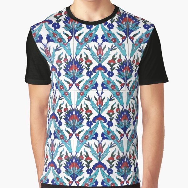 Turkish Iznik Floral Pattern Graphic T-Shirt
