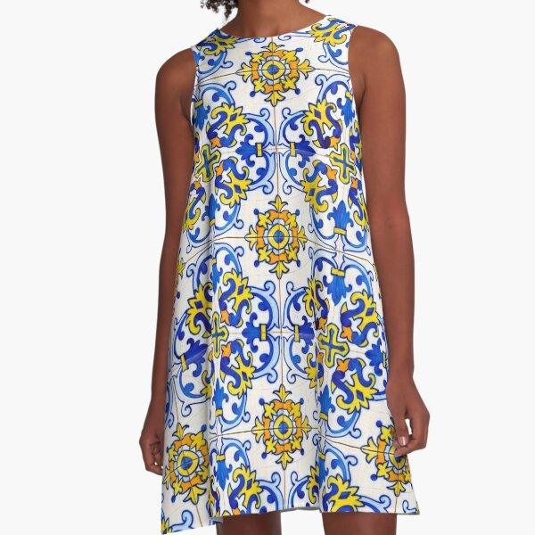 Vintage Azulejos Fliesen A-Linien Kleid