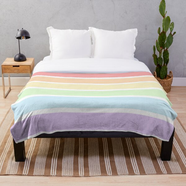 Pastel Rainbow Stripes Throw Blanket