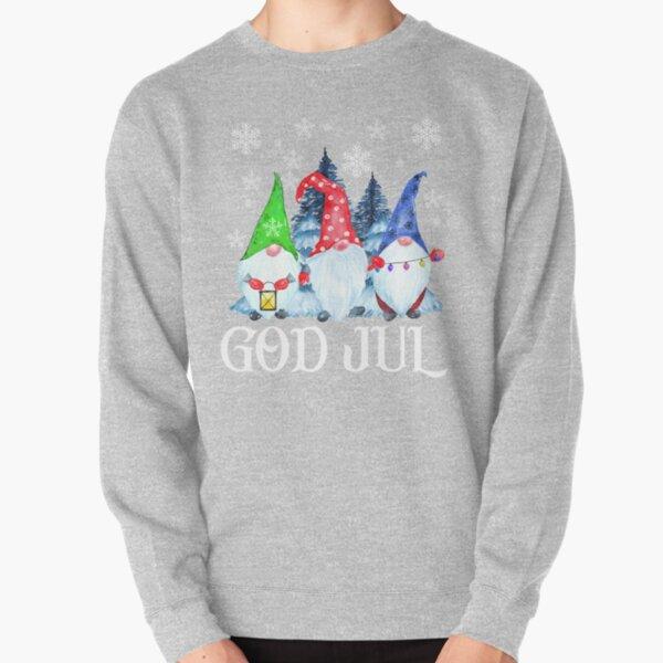 God Jul Nordique Gnomes Tomte Nisse Scandinave Suédois Norvégien De Noël Sweatshirt épais