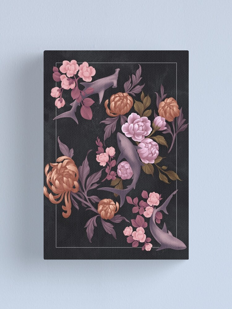 Alternate view of Botanical Sharks (Pink and Gold) Canvas Print