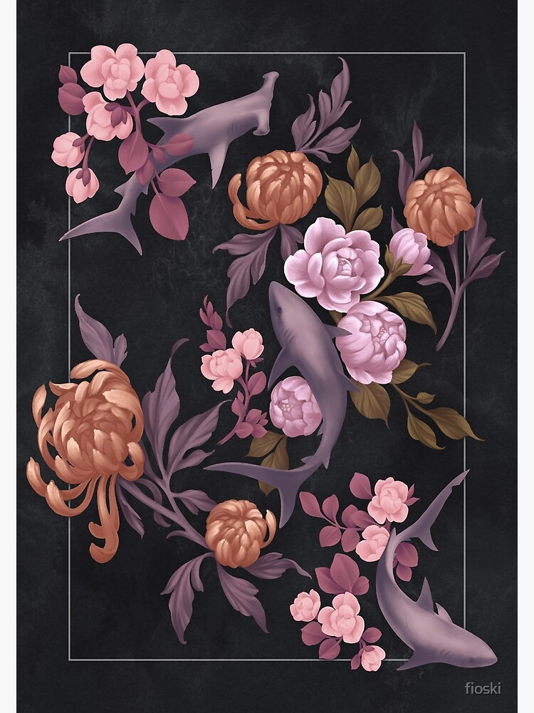 Botanical Sharks (Pink and Gold) by fioski