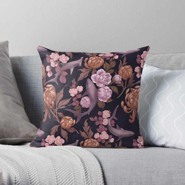 Botanical Sharks (Pink and Gold) Throw Pillow