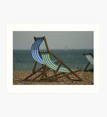 Deckchairs on Brighton Beach Art Print
