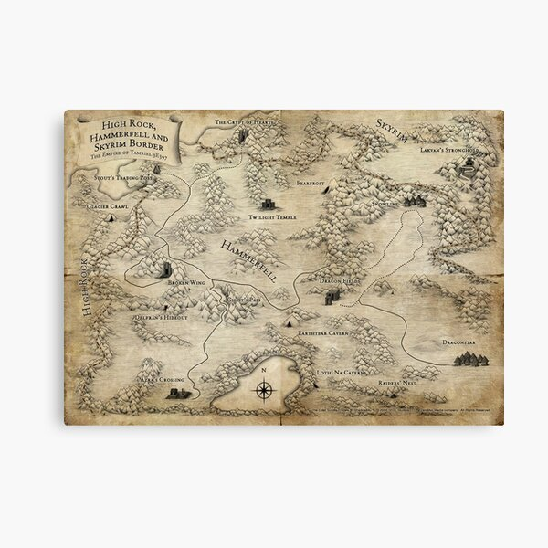 Map of tamriel high quality Canvas Print
