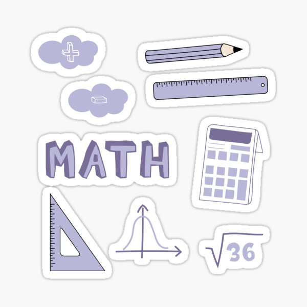 Light Purple Math School Subject Sticker Pack Sticker