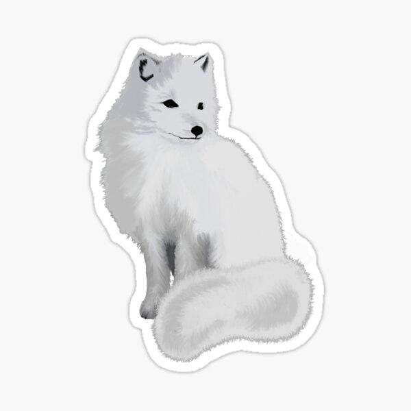 Fluffy White Arctic Fox Sticker