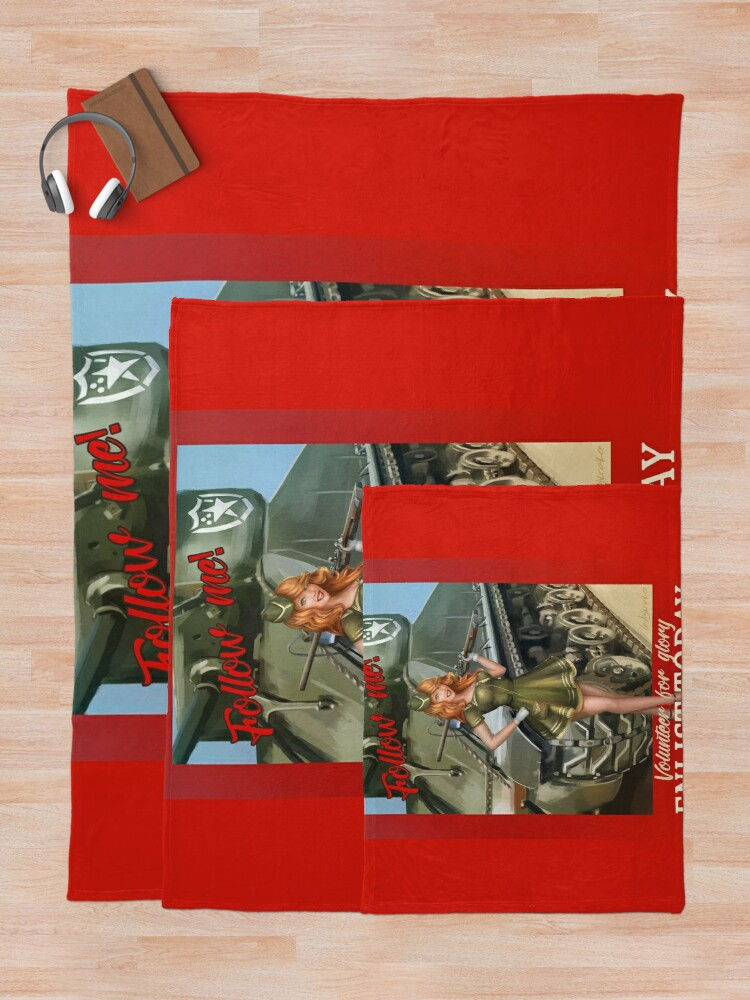 Alternate view of Enlist Today, Empira Glory, Pin up Girl Throw Blanket