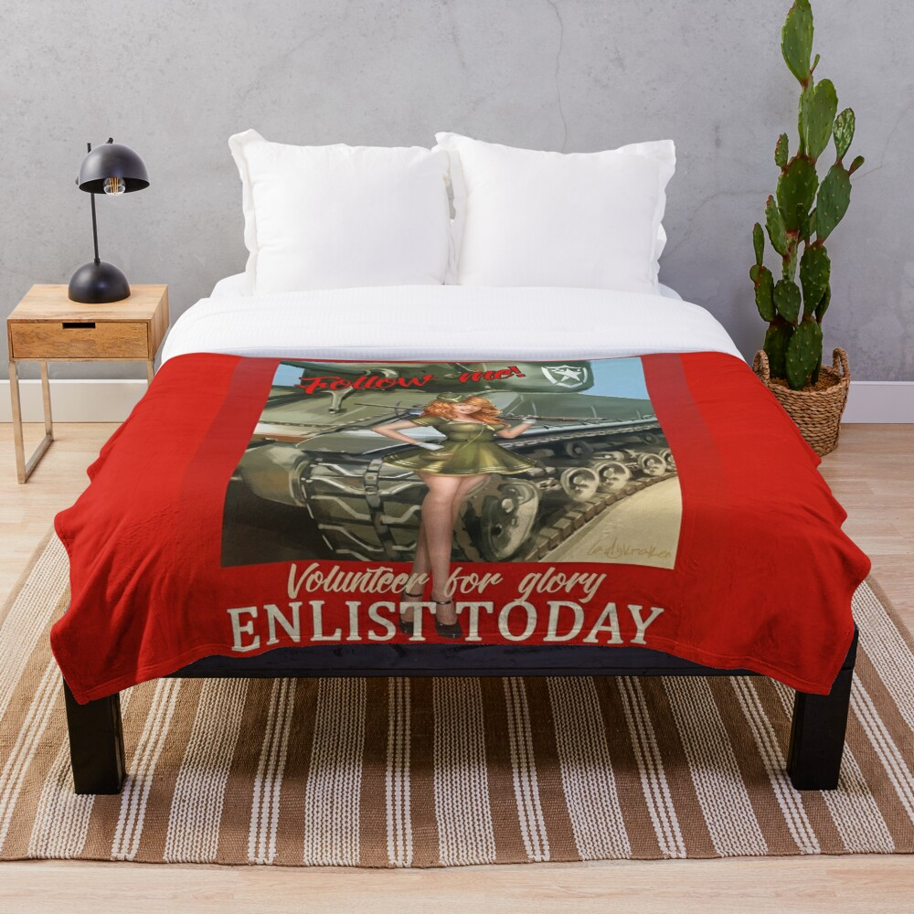 Enlist Today, Empira Glory, Pin up Girl Throw Blanket