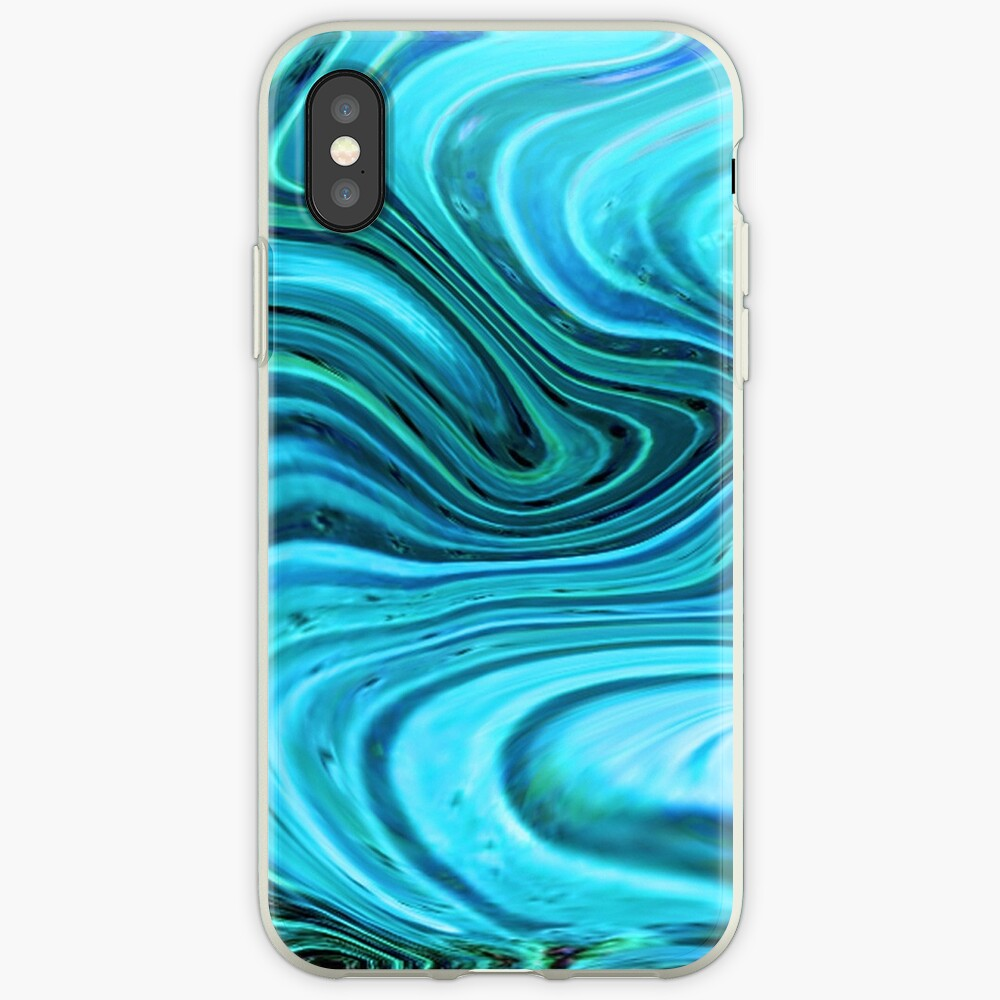 Marbled Turquoise and teal watercolor art iPhone Cases & Covers