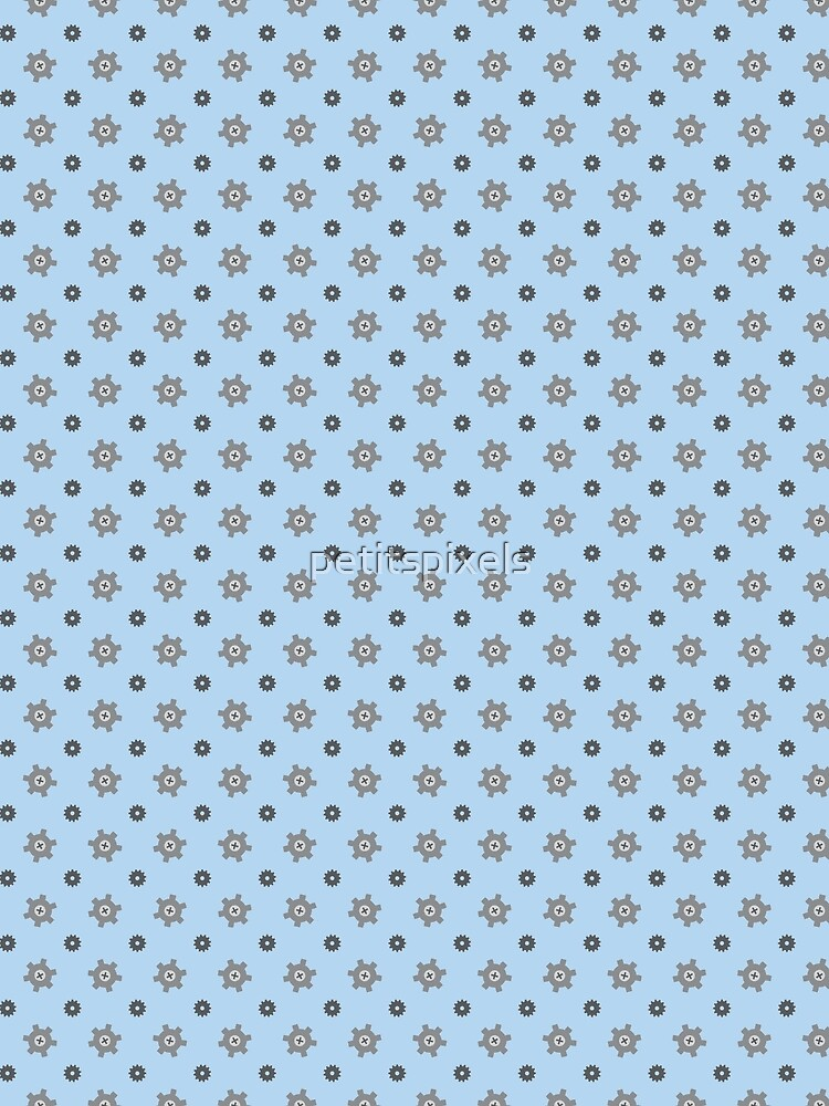 Tiny grey cogs pattern by petitspixels