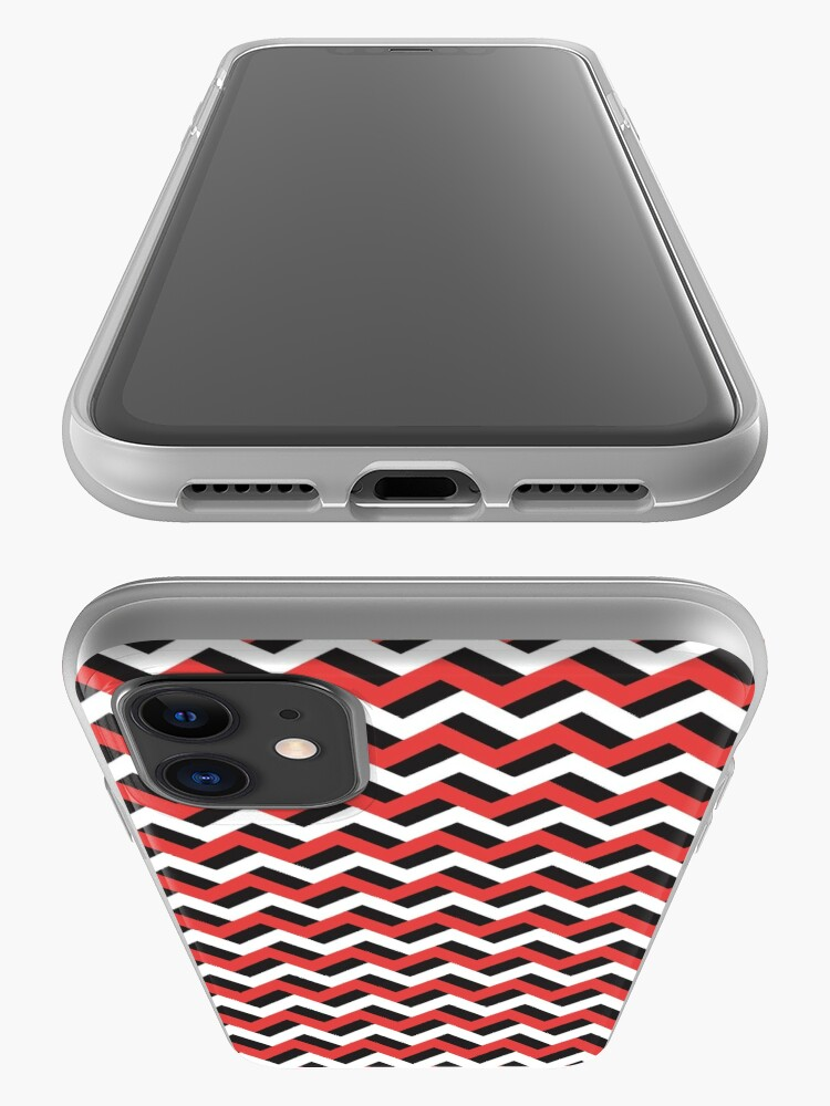 Alternate view of Red black and white zigzags iPhone Case & Cover