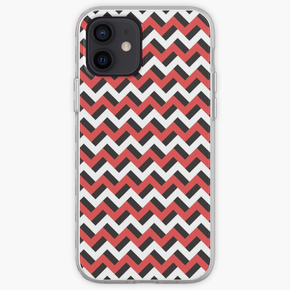 Red black and white zigzags iPhone Case & Cover