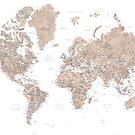 Brown-Aquarellweltkarte mit US-Landeshauptstädten von blursbyai