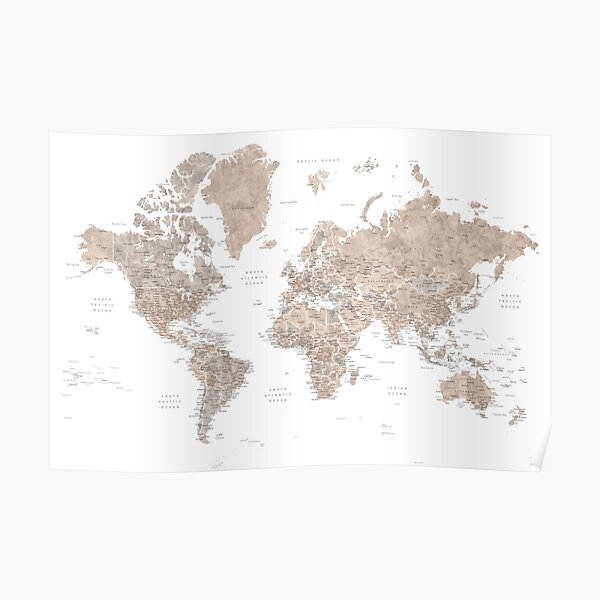 Brown watercolor world map with US state capitals Poster