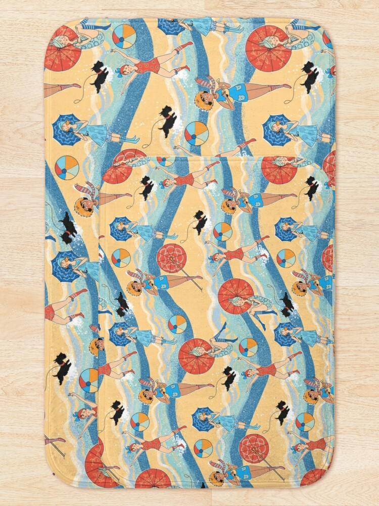 Alternate view of 1920s Bathing Beauties in Roaring Twenties Swimwear with Ukeleles and Scotty Dogs Bath Mat