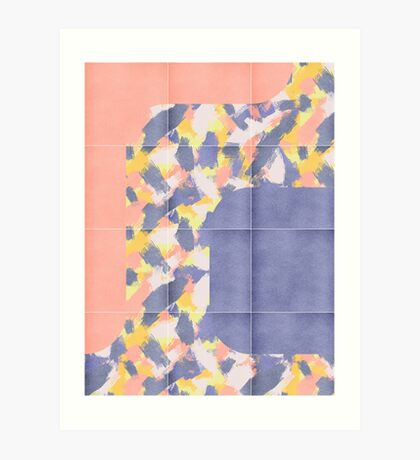 Messy Painted Tiles 01 #redbubble #midmod Art Print